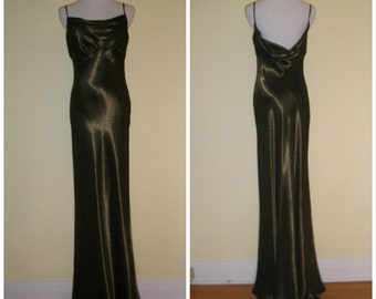 90s does 30s maxi gown. Liquid metallic gold, slinky sexy empire bust-midback cowl drape, superior home made for event dress. Size M.