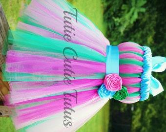 Sweet Hot Pink, Green and Turqouise Tutu Dress