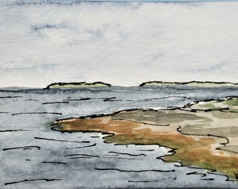 Maine Art Miniature Seascape Watercolor Painting ACEO Pemaquid Point Artist Trading Card Original Art Kathleen Daughan Western Avenue Lowell
