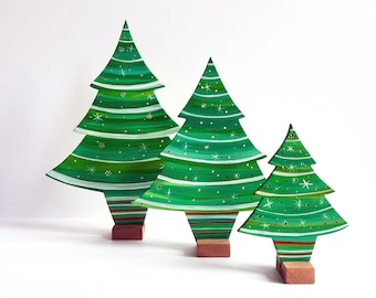 christmas trees, christmas decorations, handmade wooden decorations, christmas ornaments, gift, vintage decor, vintage christmas decor