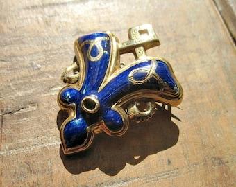 Antique Victorian 14K Enameled Brooch - Antique Jewelry - Victorian Jewelry - Blue - Fleur De Lis - Gold - Pin - 1870s