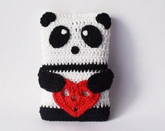PANDA crochet Phone cozy , Valentine's Day Gift ideas , Birthday gift , crochet phone case , iPhone Gadget Case , iphone case , iphone cover