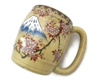 Satsuma Beer Mug - Mt Fuji, Cherry Blossoms, Vintage 1900-1920s