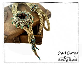 Cubic Right Angle Weave Beading Pattern, Spoked Focal Element, CRAW Lariet Beading Instructions, DIY Beaded Jewelry Tutorial,  CRAWLBERRIES