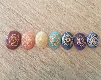 Chakra Set Engraved - Oval Chakra Set - Reiki - Energy Healing