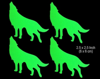 4 Howling Wolves - 2.25 x 2.25 Inch -  Glow in the Dark Decal / Sticker - Macbook, iPad, Tablet, Car, Window