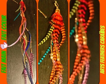 long colorful feather earring