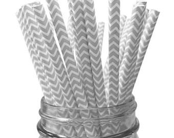 Silver Chevron 25pc Paper Straws