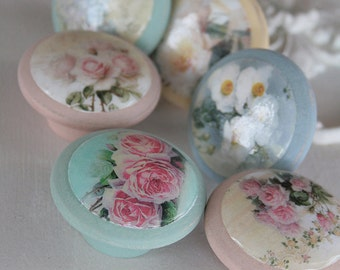 Door Pulls Soft Roses 6pc set in Love Bug Sweetie Jane Tickled Pink and Ol Blue