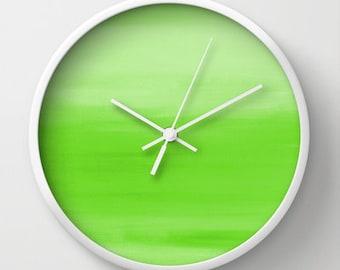 Abstract Wall Clock Lime Green Abstract  Print Modern Wall Decor Contemporary Home Decor Abstract Art