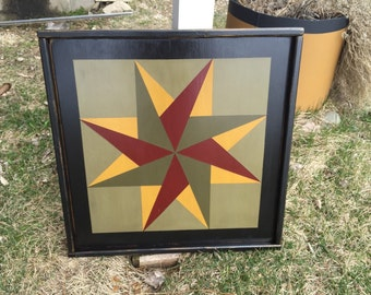 PriMiTiVe Hand-Painted Barn Quilt, Thick Frame 2' x 2' - Twirling Star Pattern