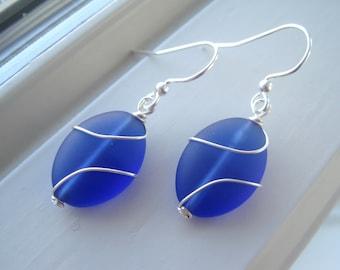 Sea Glass Earrings - Cultured Sea Glass Jewelry - Cobalt Blue Earrings - Wire Wrapped Earrings - Oval Earrings - Wire Wrapped Jewelry