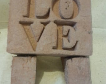 Concrete LOVE garden plaque