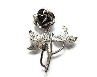 Vintage Brooch Sterling Silver Rose 1940s Mexico  Mothers Day