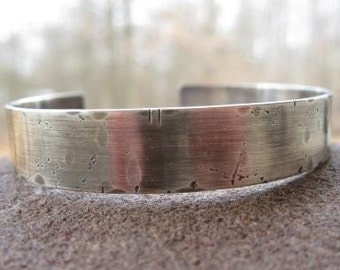 Rustic Personalized Mens Sterling Silver Cuff Bracelet. weather-worn finish . unisex cuff . boyfriend gift . custom inscribe with your words