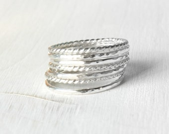 GET 1 FREE WITH Seven Stackable silver rings, hammered and twisted wire stacking rings, shiny silver ring set, silver stacking rings