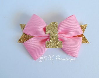 Birthday hair bow, gold glitter bow, pink hair bow, birthday girl, first birthday, birthday princess, light pink ribbon, pink birthday bow