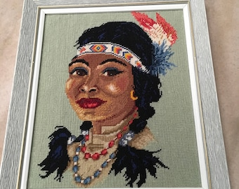 Vintage Indian Woman Framed Needlepoint Native American Head Dress