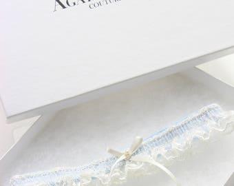 Tiffany - Something blue and ivory lace wedding garter, bridal garter gift set
