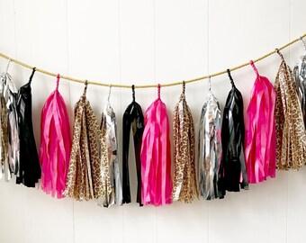 Cheetah Hot Pink Silver and Black Tassel Garland - Valentines Decor - Anniversary decor - Photo Prop