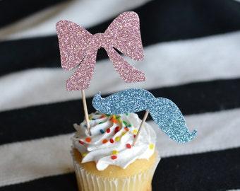 Mustache / Bow Glitter Cupcake Toppers : Baby Shower/Gender Reveal - 1 Dozen