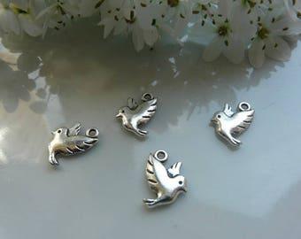 Silver Dove bird pendant