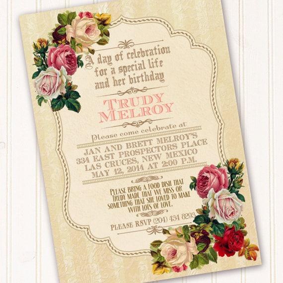 Victorian Celebration of Life invitation, classic Victorian invitation, Victorian family party, Victorian birthday, rose tea party, IN326