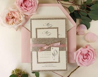 Invitación de la boda de Glitter oro moderno con la venda del vientre, elegancia Simple rosa rosa de la cinta, etiqueta personalizada, Rsvp tarjeta + sobres con los trazadores de líneas