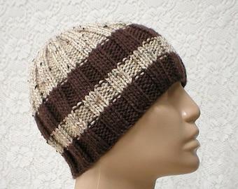 Brown oatmeal striped beanie hat, knit hat, skull cap, toque, mens womens hat, beanie hat, striped hat, brown hat, hiking biker, chemo cap