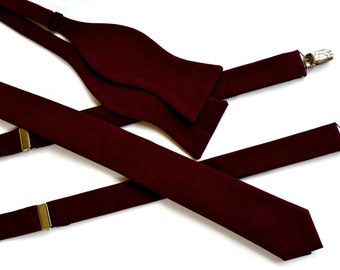 Bow ties for men and suspenders,suspenders for men wine cotton,wine color bow ties,cotton suspenders and bow ties