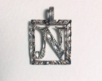 Vintage Letter N Silver Plated Necklace Pendant Only No Chain Good Condition