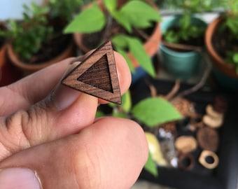 Triangle walnut earrings