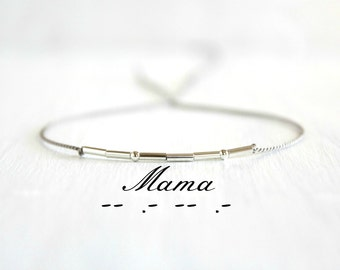 Mother's Day Gift Mama Morse Code Bracelet Minimalist Jewelry Thin Sterling Silver Beaded Silk Cord Bracelet New Mom Gift