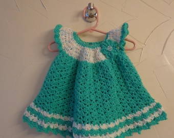 Baby girls crochet lacy dress. Soft Aqua yarn
