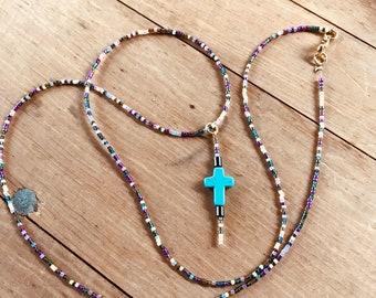 Handmade Glass Seed Bead Metallic Goldtone Necklace