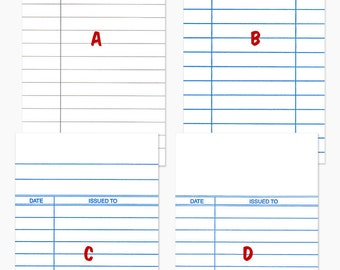 300  Library Cards, White Date Due Cards - 4 Styles for  Invitations, Note Cards, Save The Date