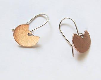 Cat Dangle Earrings, Mixed Metal Earrings, 925 Sterling Silver Earrings, Copper Earrings, Little Cat Earrings, Handmade Jewelry