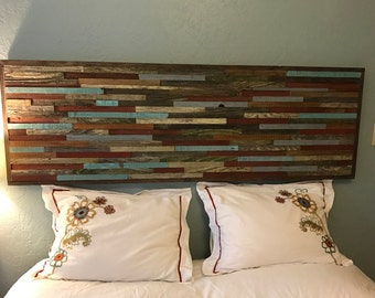 Mosaic Headboard of Reclaimed and Salvaged Barnwood-Rustic- shabby chic - upcycled - barn wood - modern industrial - pallet - salvaged