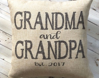 New Grandparent Gift - Easter Gift from Grandkids - Farmhouse Pillow -New Grandma - Burlap Pillow - New Grandpa  - Personalized