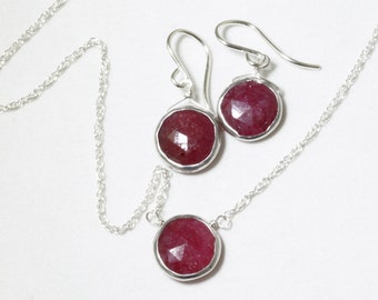 Genuine Ruby 2-piece SET Adjustable Ruby Necklace Ruby Earrings Ruby Jewelry July Birthstone Precious Rubies BZ-SET-105.2-Ruby/s