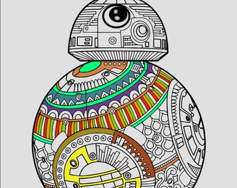 Star Wars Coloring Page, BB8 Coloring Page, Printable Coloring, Printable Gifts, Star Wars Gifts, Star Wars Printables, Zentangle Coloring