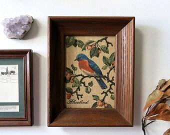 Vintage Framed Bird Print on Linen by Kay Dee, Bluebird, Wall Art, Handprinted, Blue, Home Decor, Wood Frame, Hope Valley Rhode Island