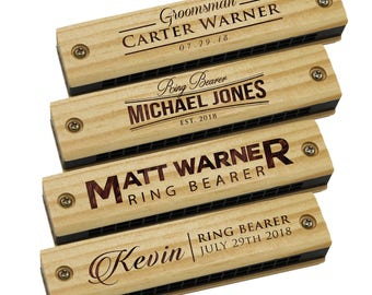 Wooden Harmonica - Engraved Harmonica - Ringbearer Gift- Toddler Gifts - Kids Gifts - Personalized Childrens Gifts - Musical Instruments