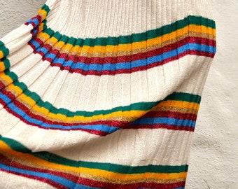 Parisian DESIGNER Karline Kervin Vintage PLEATED KNIT Striped Skirt