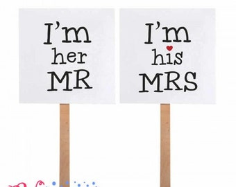 """Props for photocall """"I am MR her"""" and """"I am his MRS"""""""