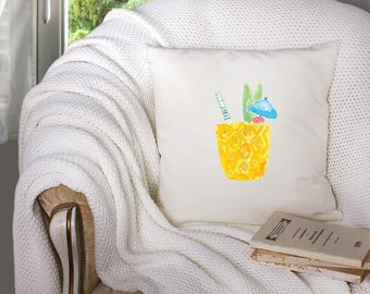 tropical drink decor - tropical drink pillow - beach house decor - tropical decor  - decorative throw pillow . throw pillow with words -