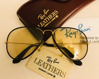 Vintage New Aviator leather Bausch & Lomb Ray Ban Sunglasses Changeable Photochromic  58mm  BL  W/ Case  VTG  NOS