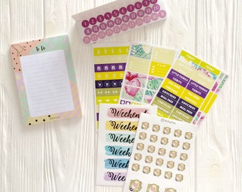 Oops Sticker Bags ( with some cut imperfections)  - 17 discounted  sticker sheets in each bag + sticky to do notes on 50 sheets