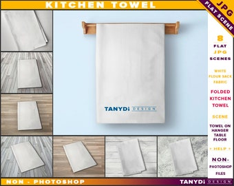 Kitchen Towel | Non-Photoshop | Flour Sack Fabric | Folded towel | White Folded Towel on Wooden Bar Hanger | Wooden Table and Floor
