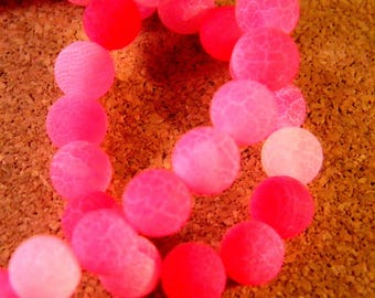 5 beads 8mm - fuchsia AG73bis frosted cracked agate